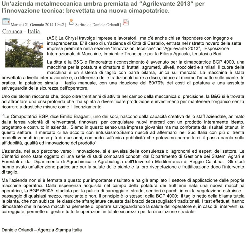 Article about BGP pruners published by the Italian News Agency