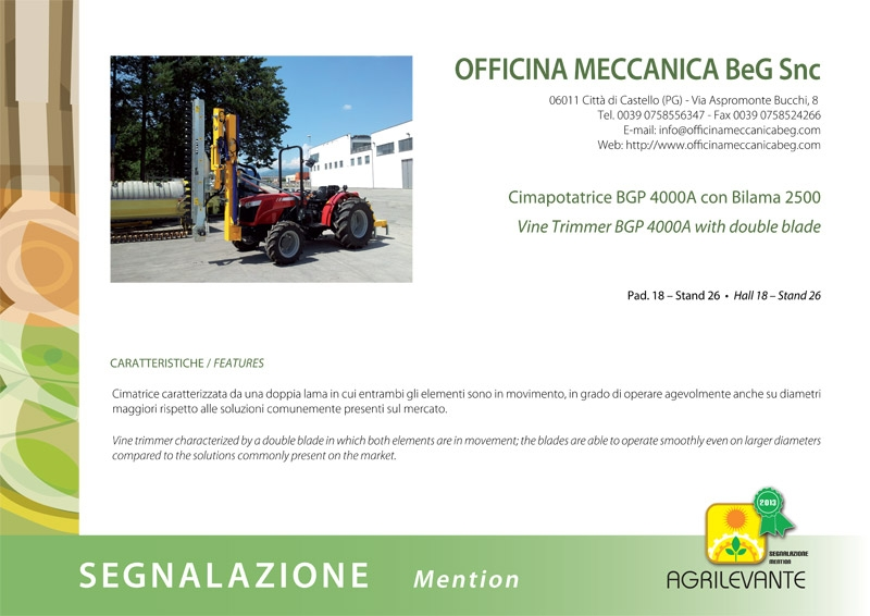 Certificate about BGP 4000A pruner – Agrilevante 2013