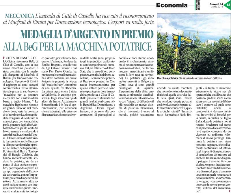 "Article published in the regional newspaper ""Corriere Dell'Umbria"" (2016)"