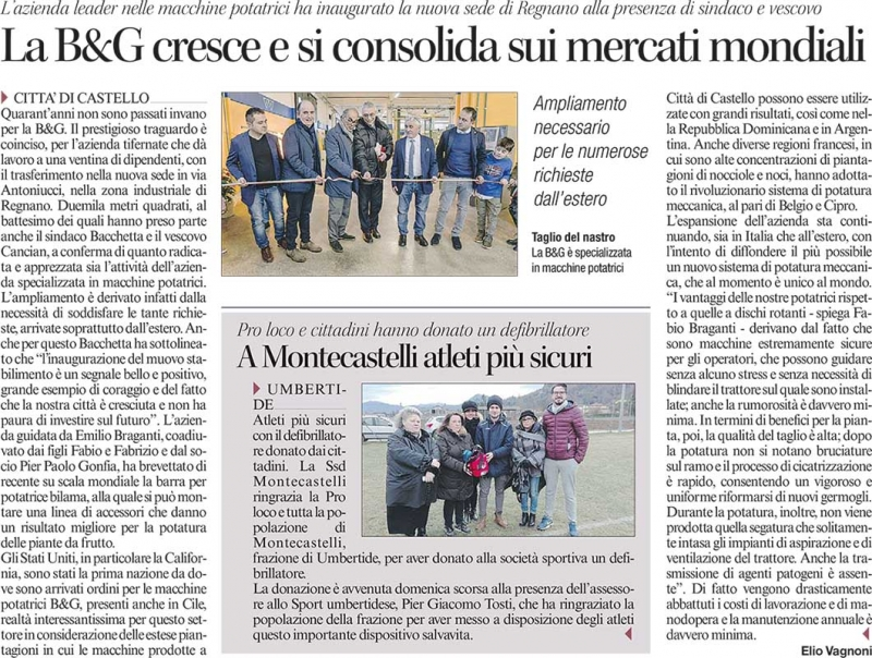 "Article published in the regional newspaper ""Corriere Dell'Umbria"" (2017)"