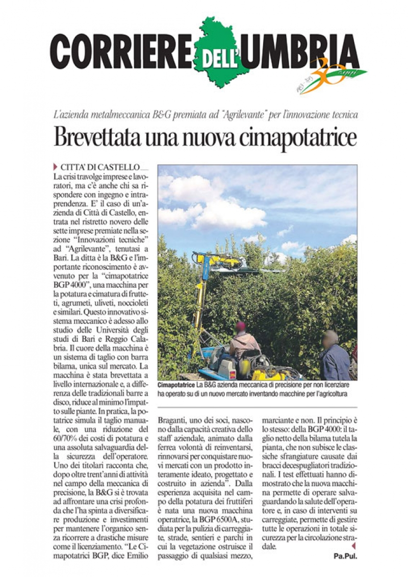 "Article in the regional newspaper ""Corriere Dell'Umbria"" (2013)"